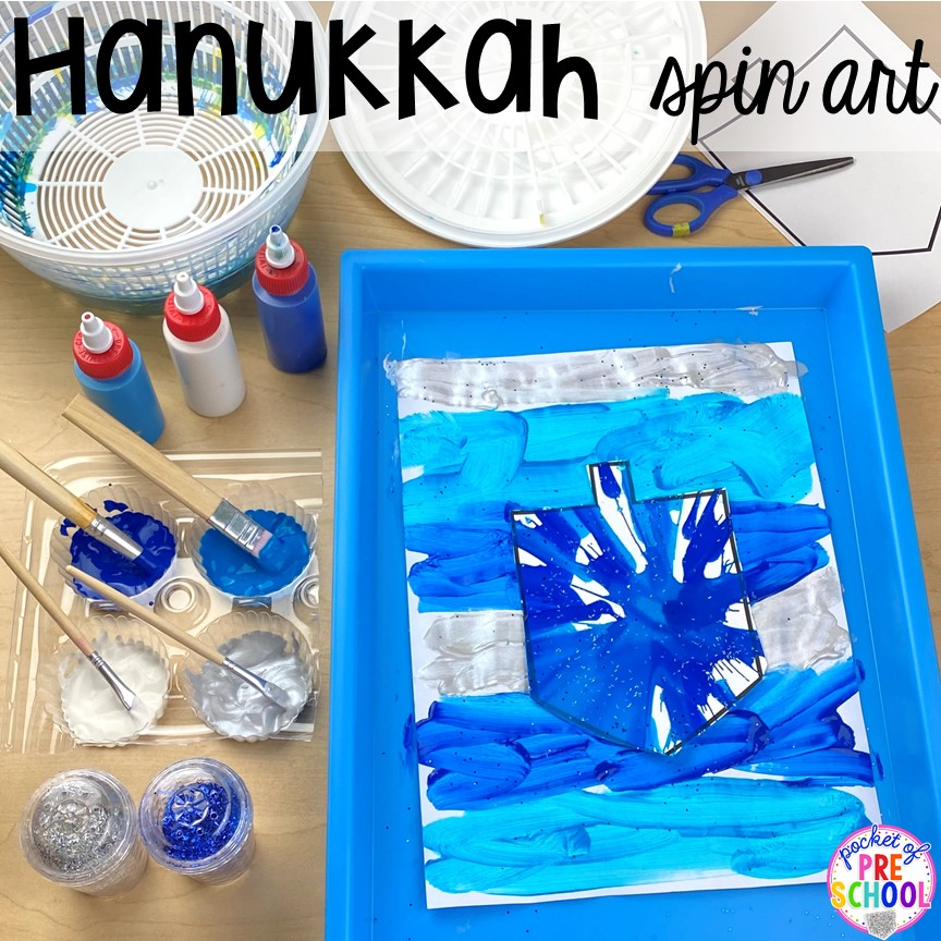 Hanukkah spin art plus more art activities for holidays around the world theme. Perfect for preschool, pre-k, and kindergarten.