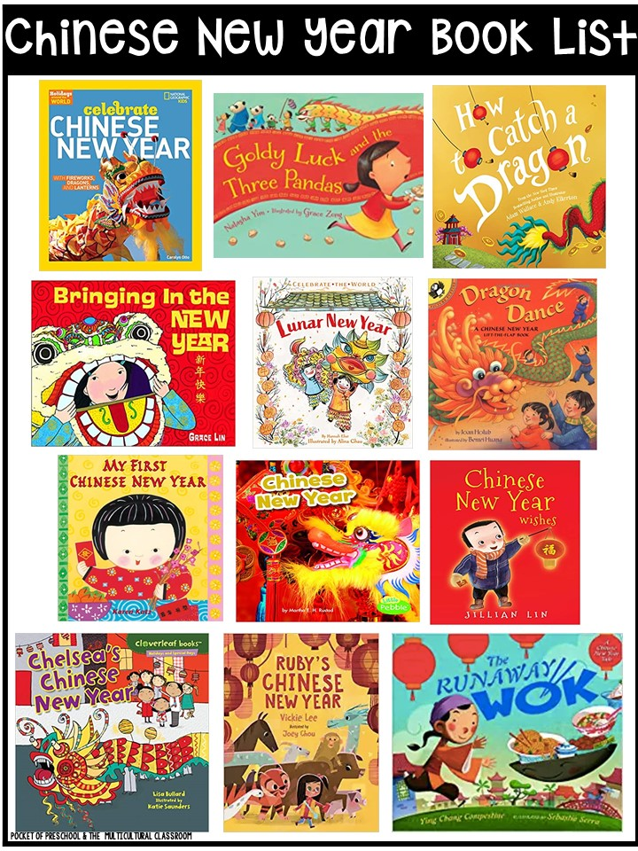 Lunar Chinese New Year book list for preschool, pre-k, and kindergarten - circle time and read aloud books