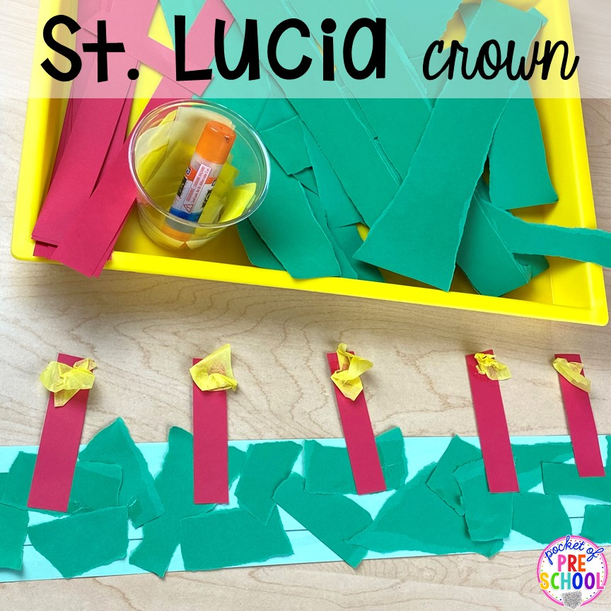 Saint Lucia crown plus more art activities for holidays around the world theme. Perfect for preschool, pre-k, and kindergarten.