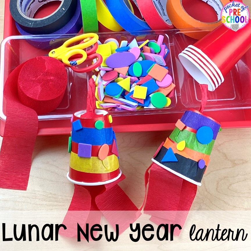Lunar New Year lanterns plus more art activities for holidays around the world theme. Perfect for preschool, pre-k, and kindergarten.