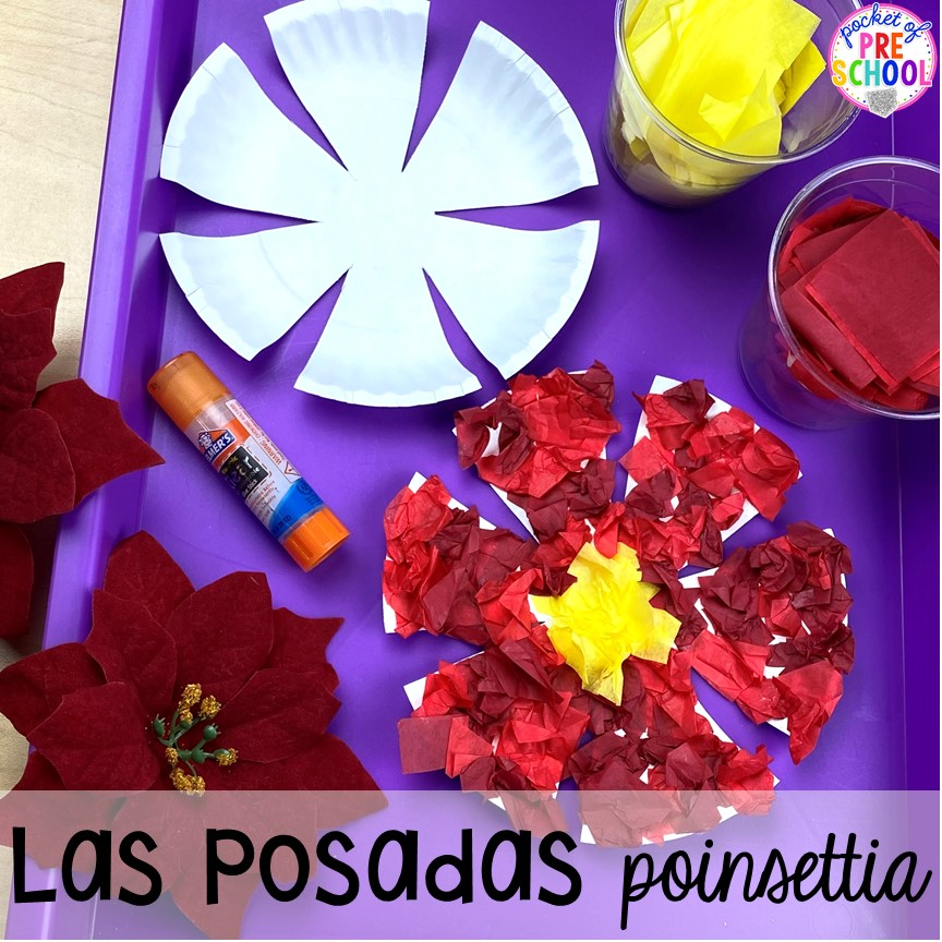 Las Posadas poinsettia art plus more art activities for holidays around the world theme. Perfect for preschool, pre-k, and kindergarten.