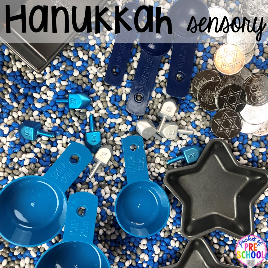 Hanukkah sensory bin plus more for other Holidays Around the World - Diwali, Lunar New Year, Kwanzaa, Saint Lucia, Las Posadas, Ramadan, and Chirstmas for preschool, pre-k, and kindergarten.