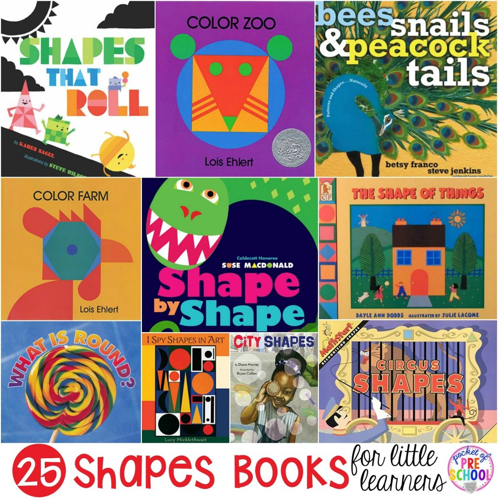 Giant 2D shape book list for preschool, pre-k, and kindergarten.