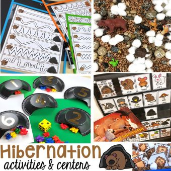 Hibernation centers and activities for preschool, pre-k, and kindergarten. Free pre-writing cards! #hibernantiontheme #wintertheme #preschool #prek #kindergarten
