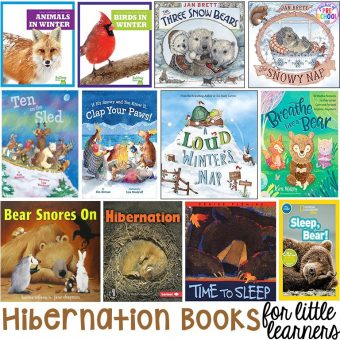 Hibernation book list for preschool, pre-k, and kindergarten. Perfect for a winter theme or hibernantion theme.