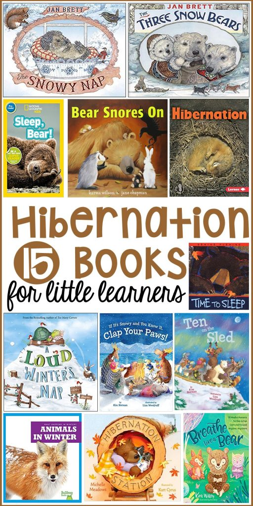 Hibernation book list for preschool, pre-k, and kindergarten. Perfect for a winter theme or hibernantion theme. #hibernationtheme #booklist #childrensbooklist