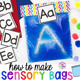 Freebie! How to make sensory and sensory bag activities (writing letters, numbers, sight words). #sensory #sensorybags #preschool #writing