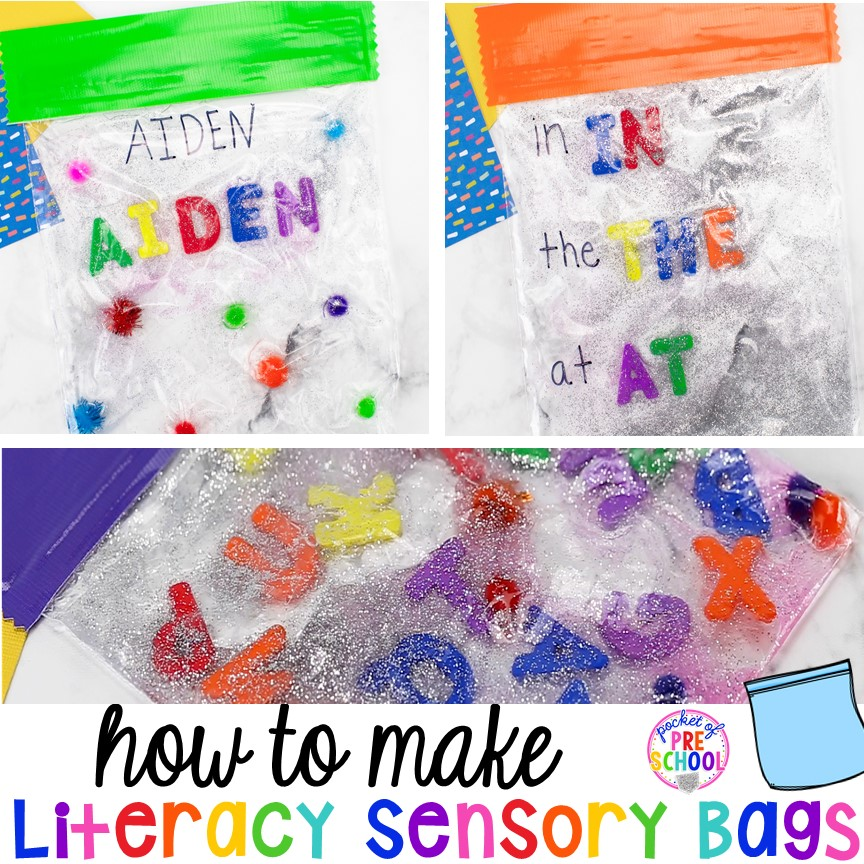 How to make literacy sensory bags (name sensory bag, letter sensory bag, sight word sensory bag). Preschool, pre-k, and kindergarten friends will love them! #sensorybags #gelbags #nameactivity #letteractivity #sighwordactivity