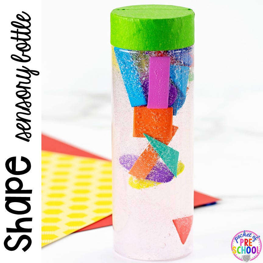 How to make shape sensory bottles and a FREE shape hunt printbales using things you alredy have in your classroom. #shapetheme #sensorybottles #shapeactivity #preschool #prek