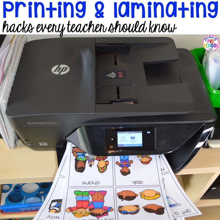 Printing and laminating hacks every teacher shoud know - How I print all the things in color.