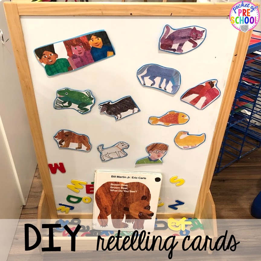 How to make DIY story retelling cards for circle time. Read aloud and circle time ideas to make it fun and engaging. #circletime #readaloud #retelling #preschool #prek #kindergarten