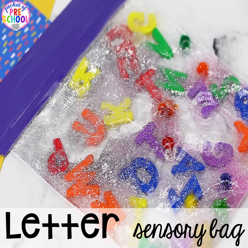 Letter gel bag! How to make literacy sensory bags (name sensory bag, letter sensory bag, sight word sensory bag). Preschool, pre-k, and kindergarten friends will love them! #sensorybags #gelbags #nameactivity #letteractivity #sighwordactivity