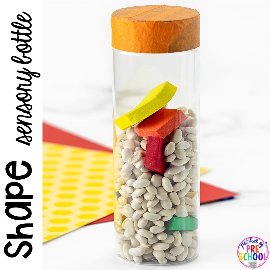 How to make shape sensory bottles and FREE shape hunt printbales using things you alredy have in your classroom. #shapetheme #sensorybottles #shapeactivity #preschool #prek