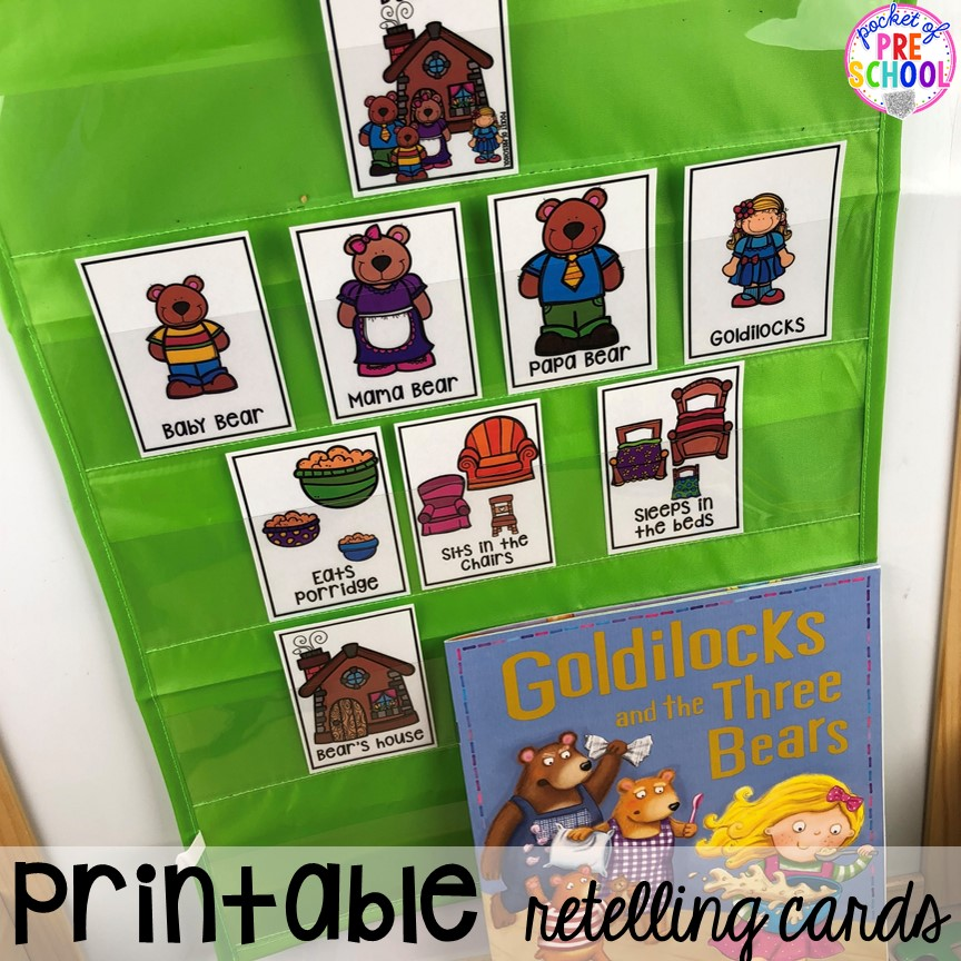 Use printable story retelling cards at circle time. Read aloud and circle time ideas to make it fun and engaging. #circletime #readaloud #retelling #preschool #prek #kindergarten