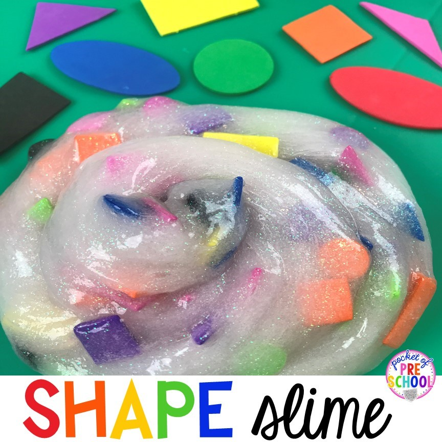 How to make shape slime! A fun sensory activity that teaches 2D shapes.