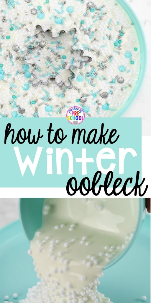 How to make oobleck goop for a winter theme! Sensory fun for preschool, pre-k, and kindergarten! #sensory #oobleck #preschool