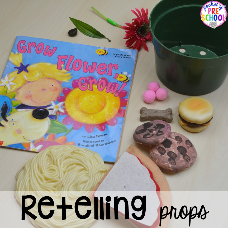 Retell a book with props at circle time! Read aloud and circle time ideas to make it fun and engaging. #circletime #readaloud #retelling #preschool #prek #kindergarten