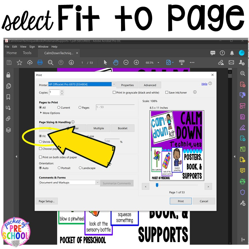 Printing PDFs help and tech support (with photos)for teachers who print PDFs plus some tricks to make it quick! #printingtricks #printingpdf #teachertech #preschool #prek