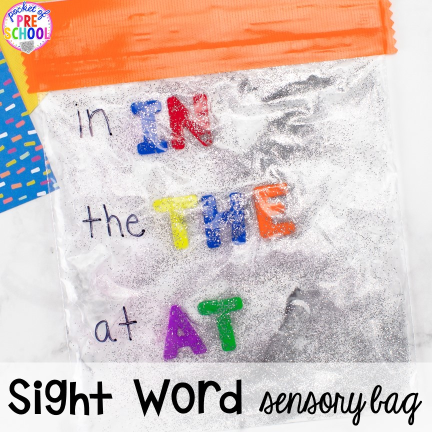 Sight word sensory bag! How to make literacy sensory bags (name sensory bag, letter sensory bag, sight word sensory bag). Preschool, pre-k, and kindergarten friends will love them! #sensorybags #gelbags #nameactivity #letteractivity #sighwordactivity