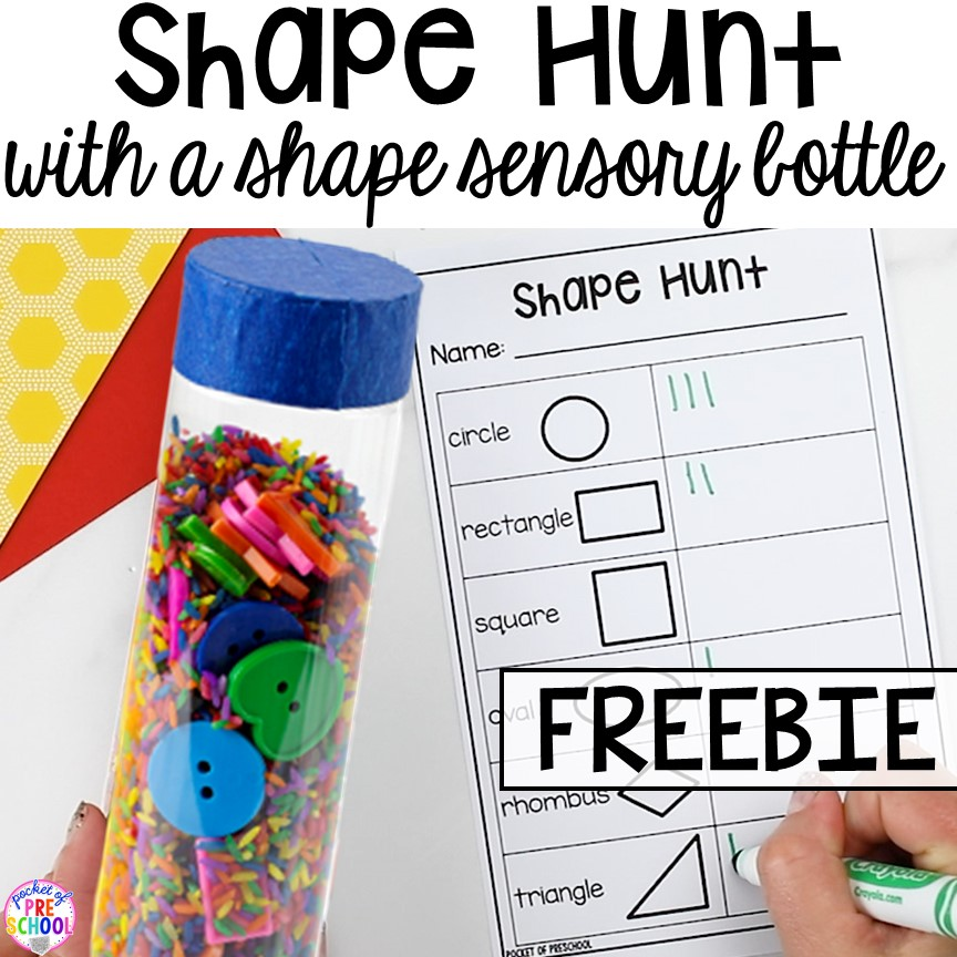 FREE Shape hunt printable! How to make shape sensory bottles using things you alredy have in your classroom. #shapetheme #sensorybottles #shapeactivity #preschool #prek