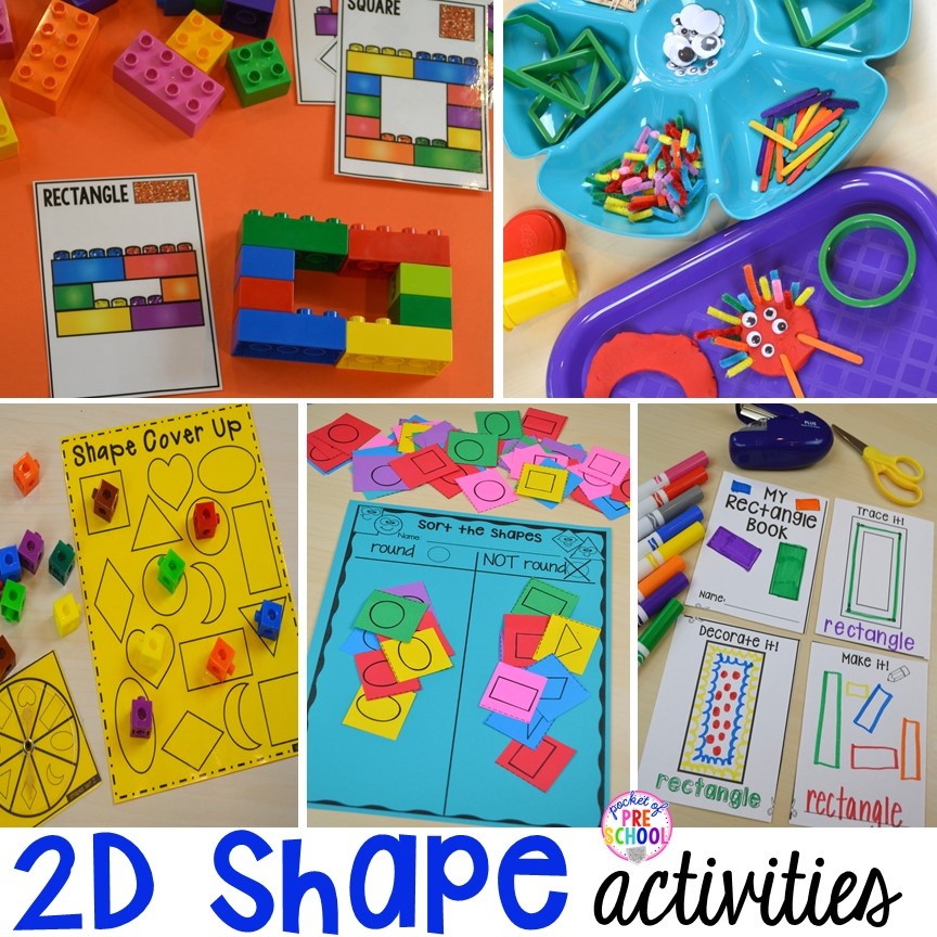2D shape activities and centers for preschool, pre0k, and kindergarten.