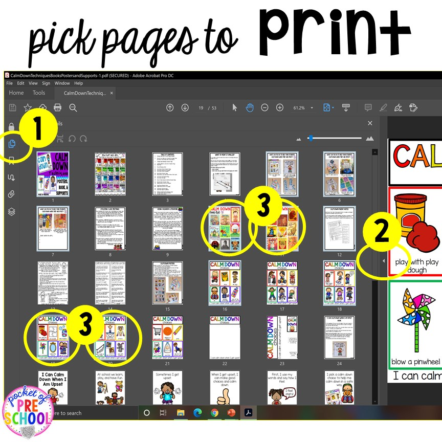 How to print multpule pages in a PDF quickly! Printing PDFs help and tech support (with photos)for teachers who print PDFs plus some tricks to make it quick! #printingtricks #printingpdf #teachertech #preschool #prek