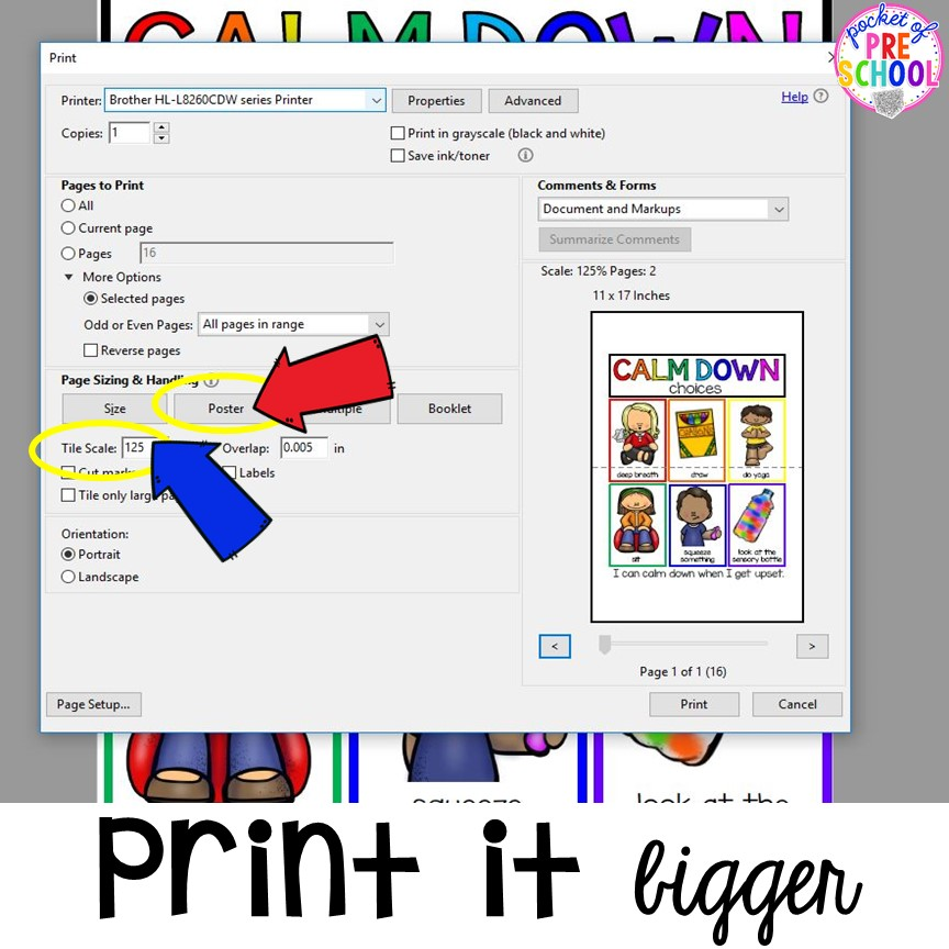 How to print a page in a PDF poster size. Printing PDFs help and tech support (with photos)for teachers who print PDFs plus some tricks to make it quick! #printingtricks #printingpdf #teachertech #preschool #prek