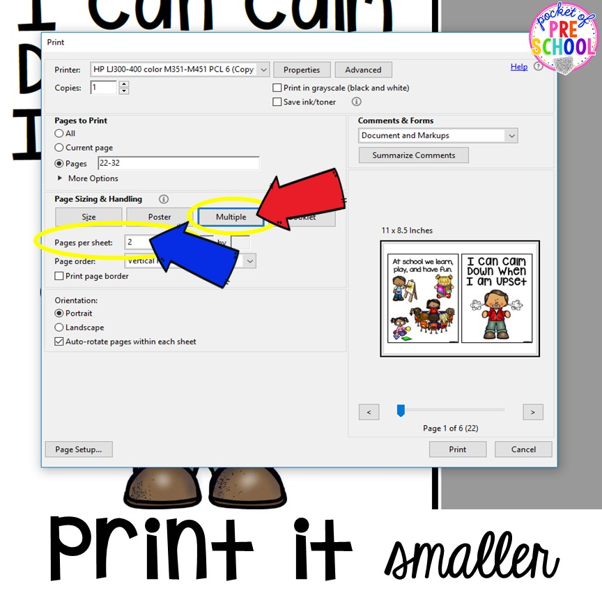 How to print a PDF smaller for pocket charts, mini books, and small classrooms. Printing PDFs help and tech support (with photos)for teachers who print PDFs plus some tricks to make it quick! #printingtricks #printingpdf #teachertech #preschool #prek