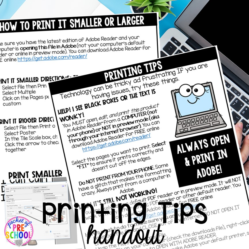 FREE printing PDF support handouts. Printing PDFs help and tech support (with photos)for teachers who print PDFs plus some tricks to make it quick! #printingtricks #printingpdf #teachertech #preschool #prek
