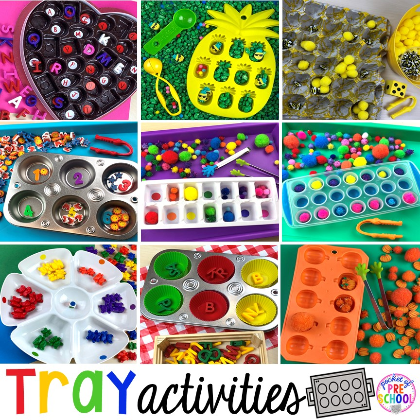Fun tray activities to develop fine motor, literacy, and math skills your preschoolers, per-k, and toddler kiddos will LOVE! #preschool #preschoolmath #letteractivities #finemotor #sensory