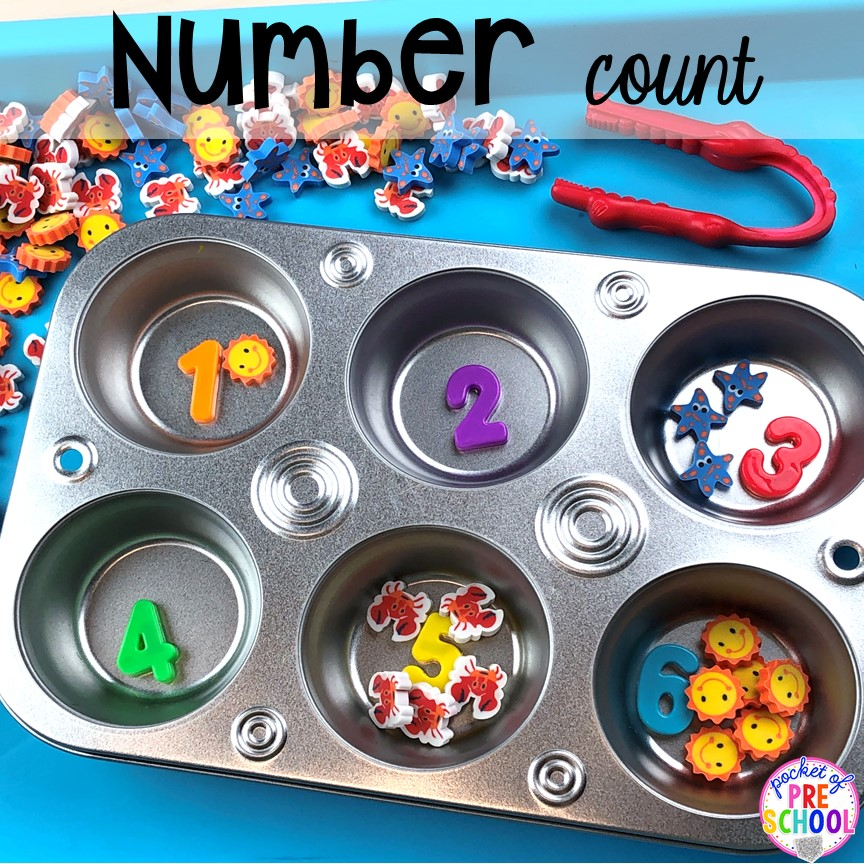 Number count with mini erasers! Plus more fun tray activities to develop fine motor, literacy, and math skills your preschoolers, per-k, and toddler kiddos will LOVE! #preschool #preschoolmath #letteractivities #finemotor #sensory