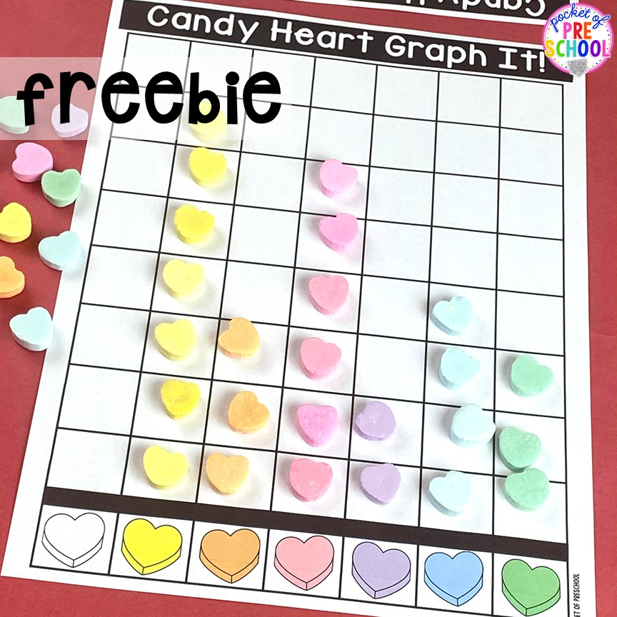 FREE candy heart graph! Use at a class party, for small group, or at table time to practice making graphs, collecting data, and counting. #preschool #prek #candyhearts #valentinesday