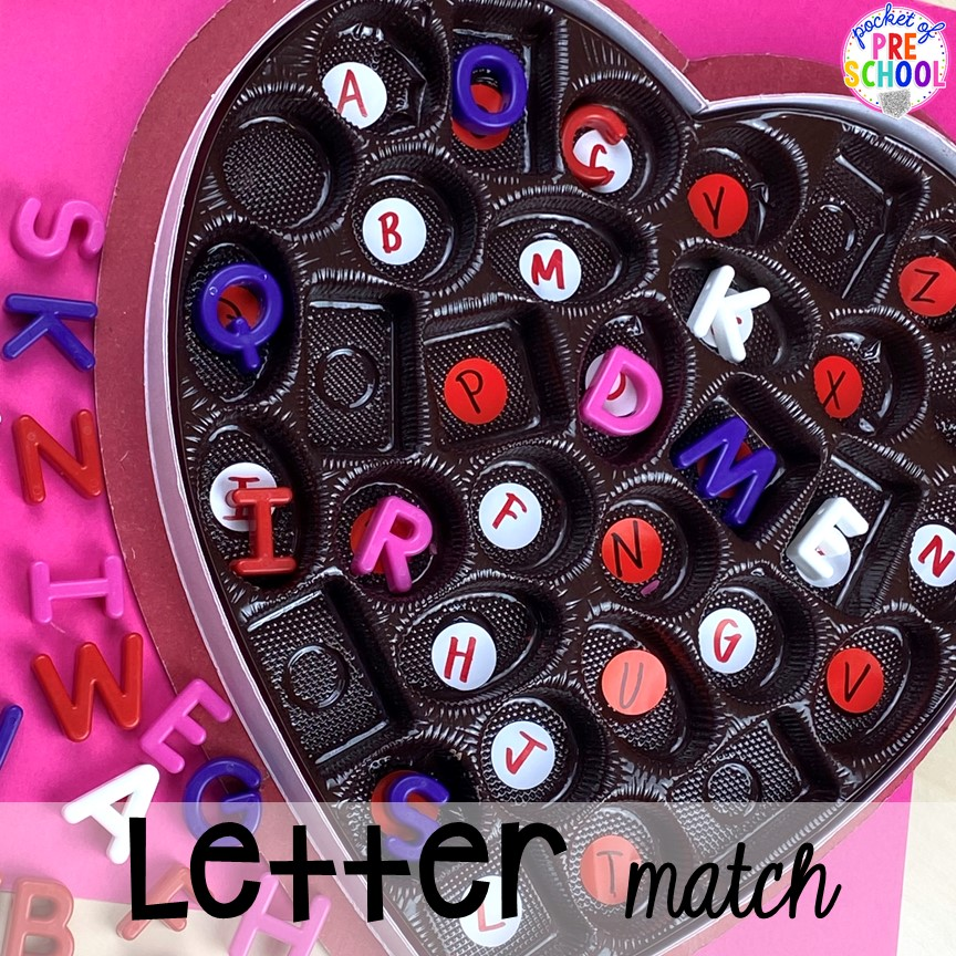 Letter math with a Valentine's Day twist! Plus more fun tray activities to develop fine motor, literacy, and math skills your preschoolers, per-k, and toddler kiddos will LOVE! #preschool #preschoolmath #letteractivities #finemotor #sensory