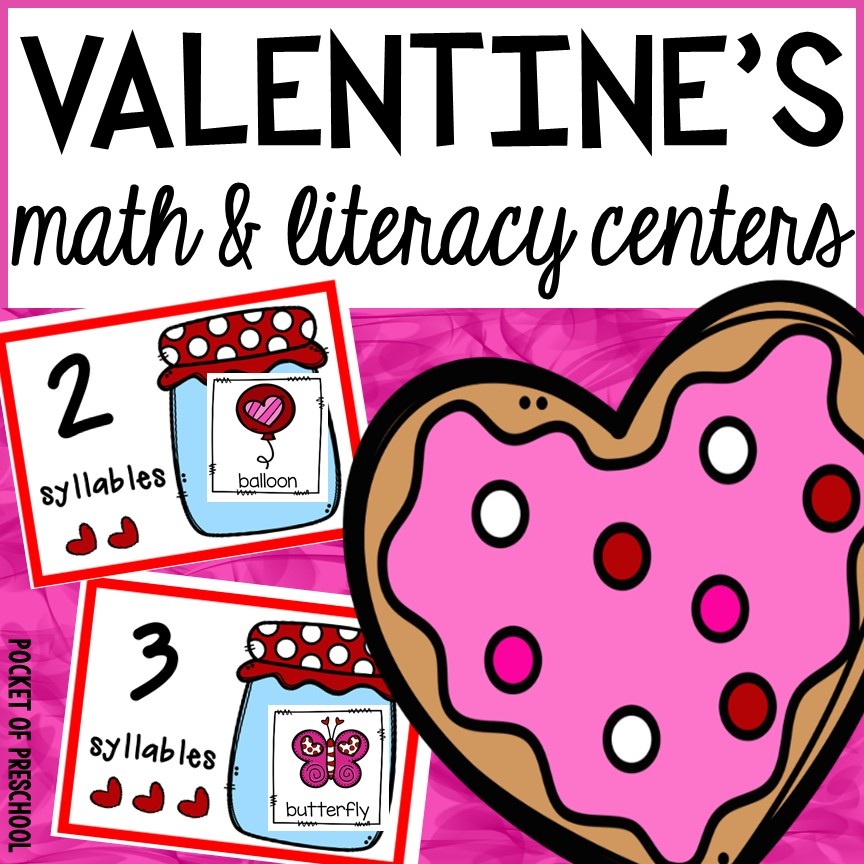 Valentines Day math and literacy centers for preschool, pre-k, and kindergarten.