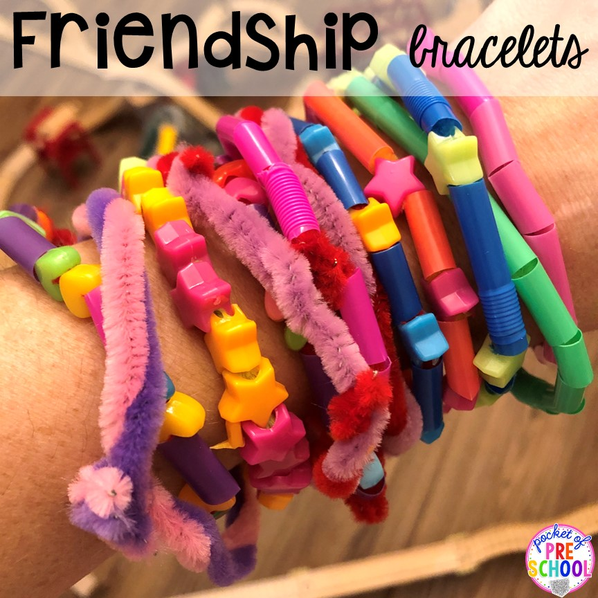 Friendship bracelets! Valentine's Day party ideas and hacks - freebie plus quick, easy, and dollar store finds! for preschool, pre-k, or lower elementary. #valentinesdayparty #preschool #prek #kindergarten #schoolparty
