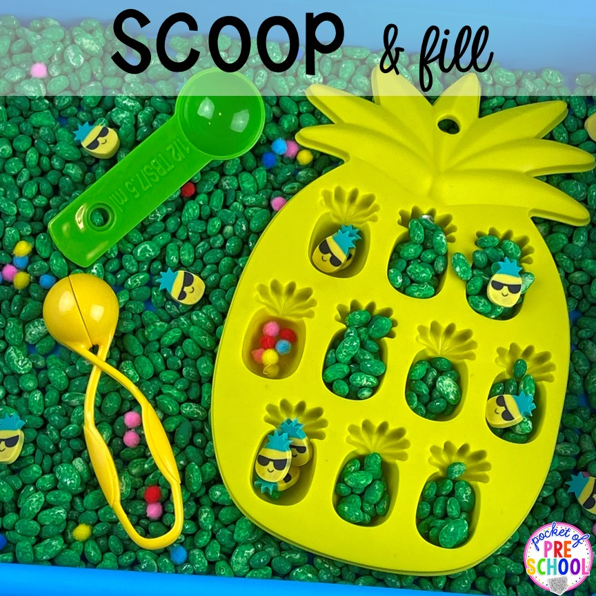 Summer sensory bin! Plus more fun tray activities to develop fine motor, literacy, and math skills your preschoolers, per-k, and toddler kiddos will LOVE! #preschool #preschoolmath #letteractivities #finemotor #sensory