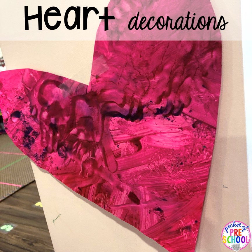 Heart decorations for a classroom Valentine's Day party!