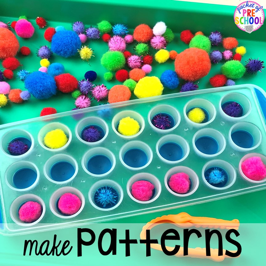 Tray pattern activity! Plus more fun tray activities to develop fine motor, literacy, and math skills your preschoolers, per-k, and toddler kiddos will LOVE! #preschool #preschoolmath #letteractivities #finemotor #sensory