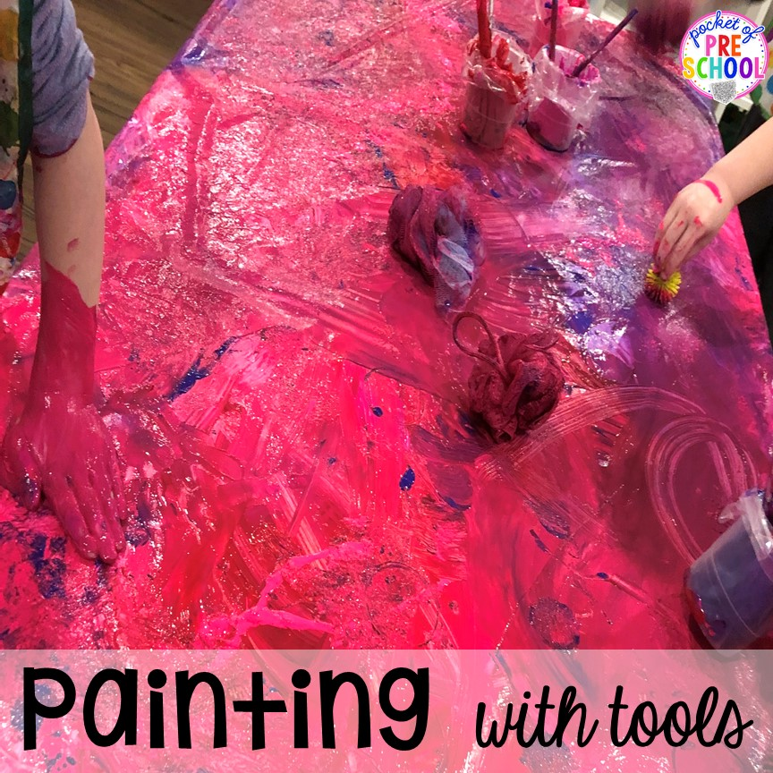 Open ended art idea - painting with tools to craete classroom decorations. Perfect for preschool, pre-k, and kindergarten.