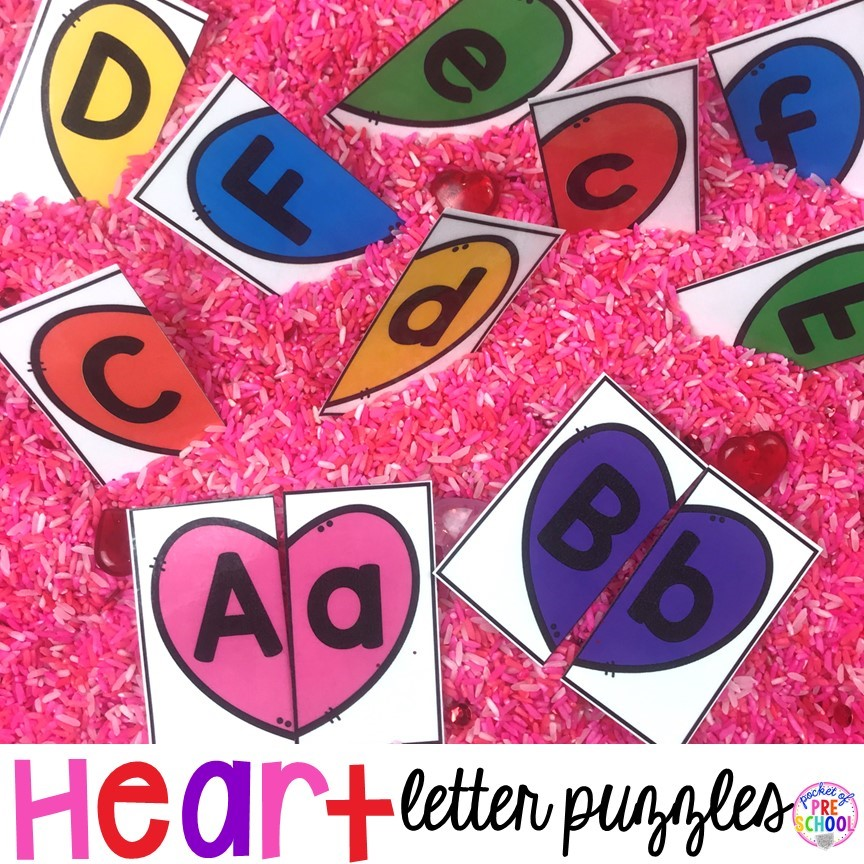 FREE Heart letter puzzles! A fun letter matching game preshool, pre-k, and kindergarten kiddos will love.