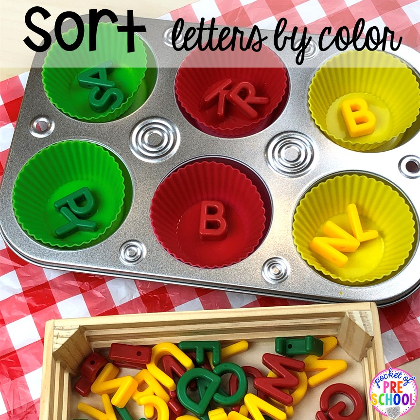 Sort letters by color! Plus more fun tray activities to develop fine motor, literacy, and math skills your preschoolers, per-k, and toddler kiddos will LOVE! #preschool #preschoolmath #letteractivities #finemotor #sensory