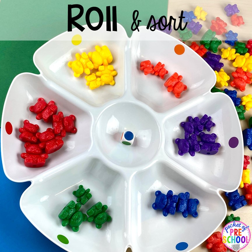 Roll and sort math counters! Plus more fun tray activities to develop fine motor, literacy, and math skills your preschoolers, per-k, and toddler kiddos will LOVE! #preschool #preschoolmath #letteractivities #finemotor #sensory