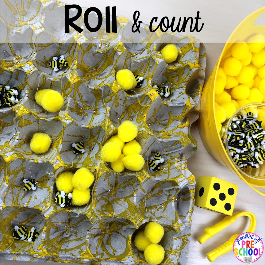 Bee theme roll and count tray activity! Plus more fun tray activities to develop fine motor, literacy, and math skills your preschoolers, per-k, and toddler kiddos will LOVE! #preschool #preschoolmath #letteractivities #finemotor #sensory