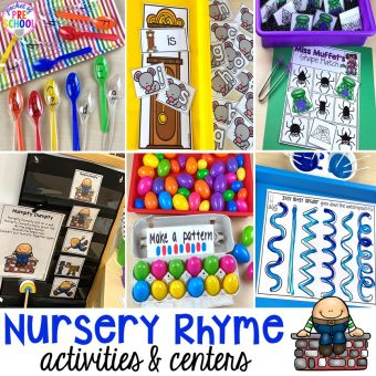Favorite Nursery Rhyme activities and centers for preschool, pre-k, and kindergarten. #nurseryrhymes #preschool #prek #kindergarten