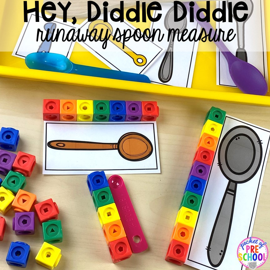 Hey Diddle Diddle measure! Favorite Nursery Rhyme activities and centers for preschool, pre-k, and kindergarten. #nurseryrhymes #preschool #prek #kindergarten