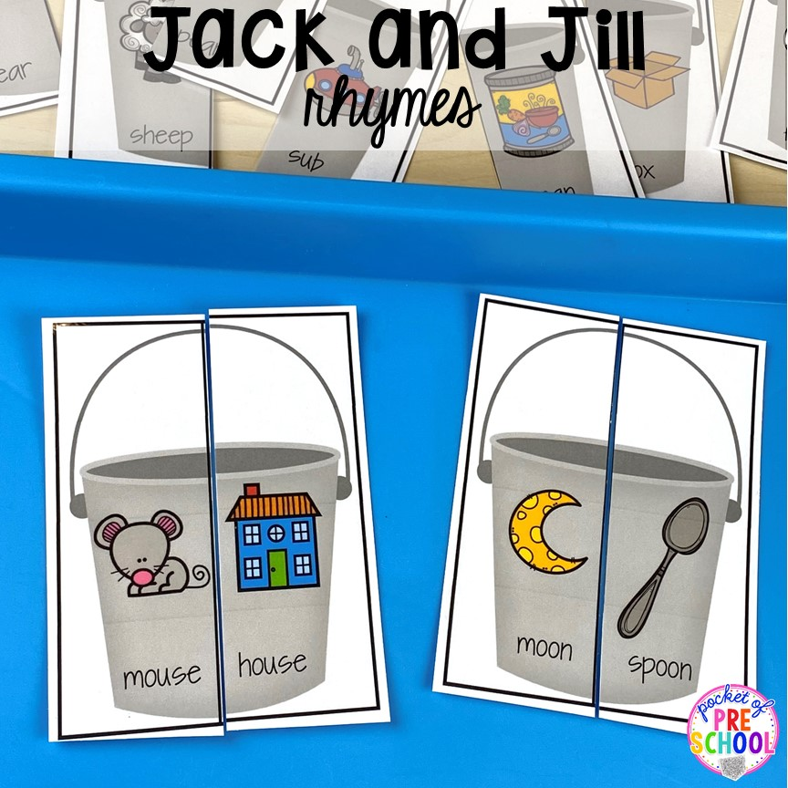 Jack and JIll rhyme puzzles! Favorite Nursery Rhyme activities and centers for preschool, pre-k, and kindergarten. #nurseryrhymes #preschool #prek #kindergarten