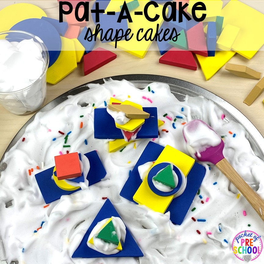 Pat-A-Cake shape cakes! Favorite Nursery Rhyme activities and centers for preschool, pre-k, and kindergarten. #nurseryrhymes #preschool #prek #kindergarten