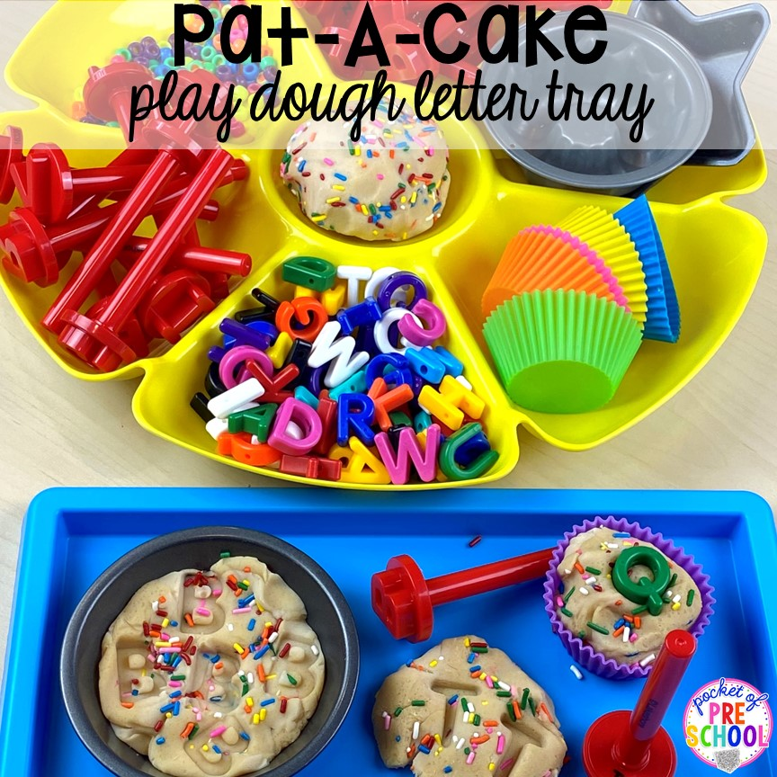 Pat-A-Cake play dough tray! Favorite Nursery Rhyme activities and centers for preschool, pre-k, and kindergarten. #nurseryrhymes #preschool #prek #kindergarten