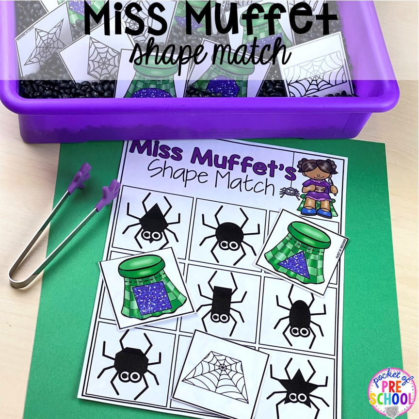 Miss Muffet shape match! Favorite Nursery Rhyme activities and centers for preschool, pre-k, and kindergarten. #nurseryrhymes #preschool #prek #kindergarten