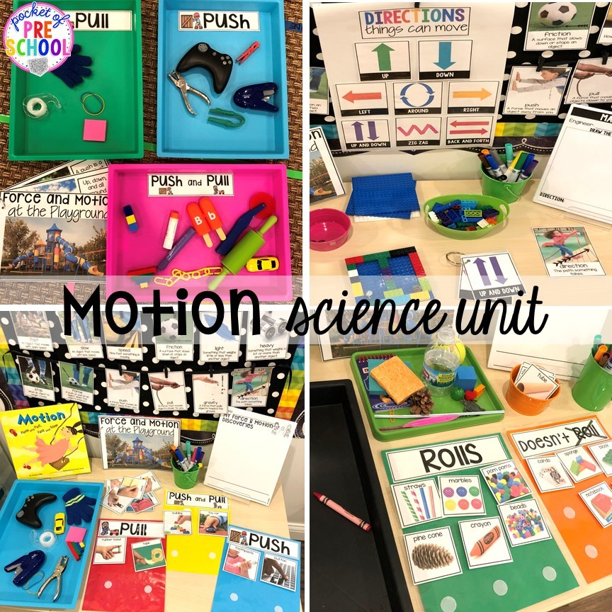Motion science center! Explore items you can push and pull, roll or not roll, and make mazes to explore how objects can move. Designed for preschool, pre-k, and kindergarten.